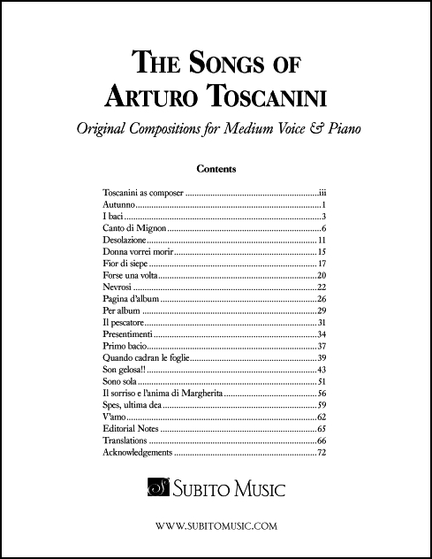The Songs of Arturo Toscanini for medium voice & piano - Click Image to Close