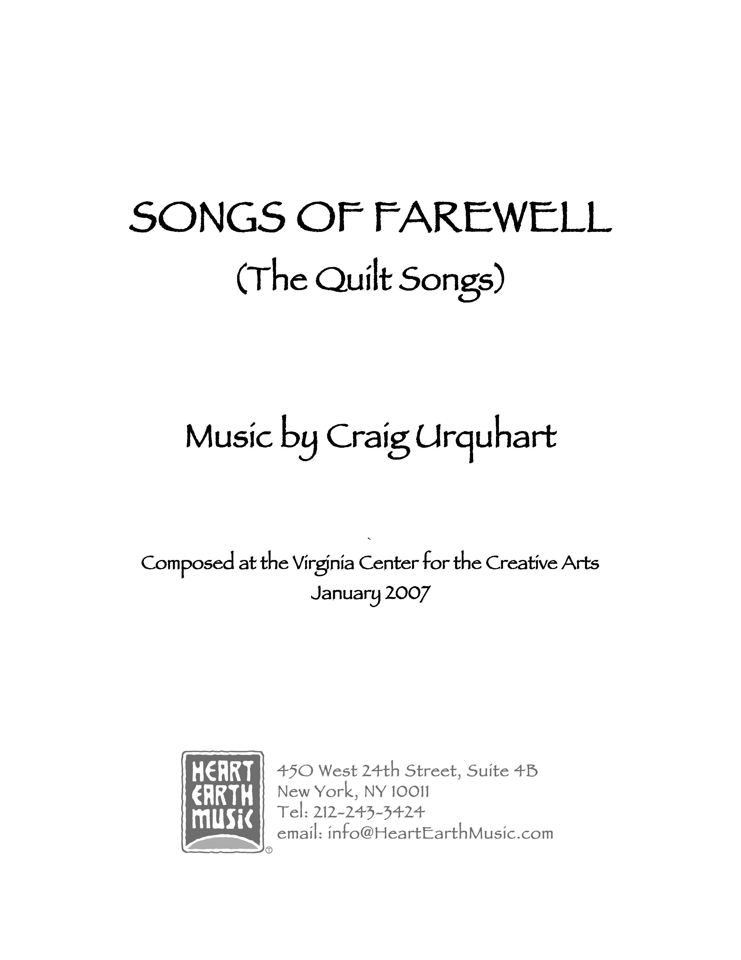 Songs of Farewell (The Quilt Songs) for voice & piano