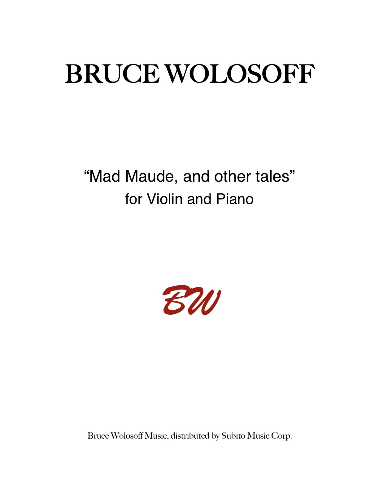 Mad Maude, and Other Tales for violin & piano