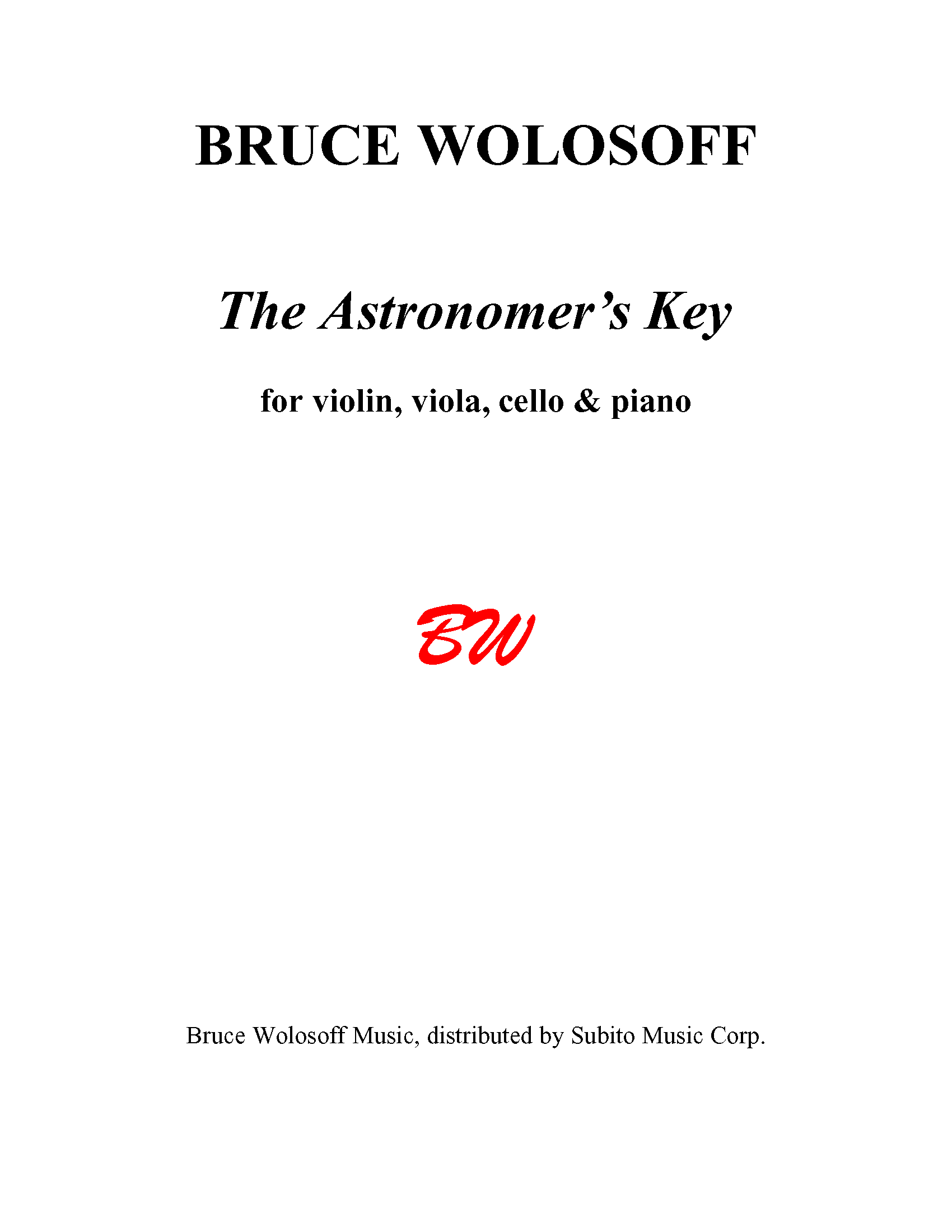 The Astronomer's Key for Violin, Viola, Violoncello & Piano