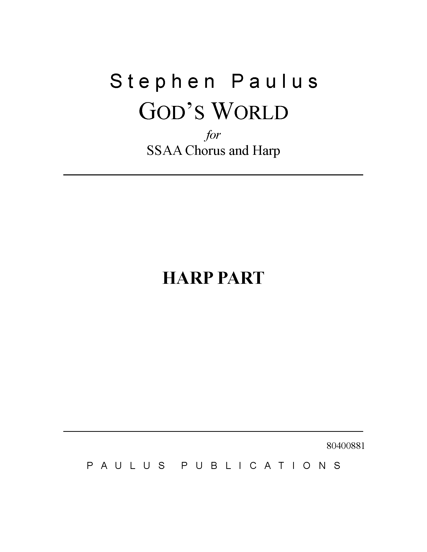 God's World (Harp part) for SSAA Chorus & Harp