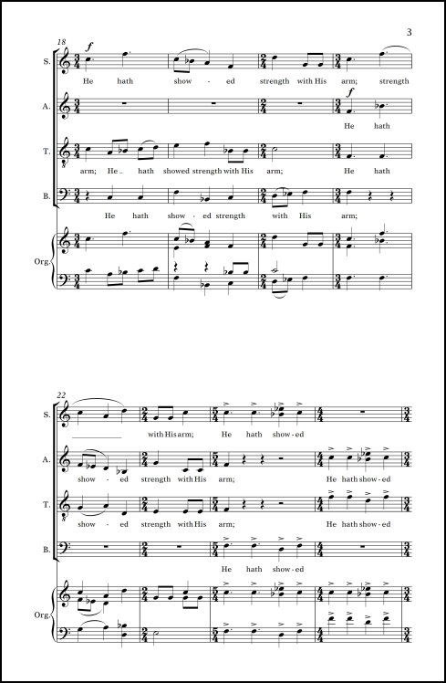 He Hath Showed Strength (from Magnificat ) for SATB chorus (divisi) & organ (or strings & organ)
