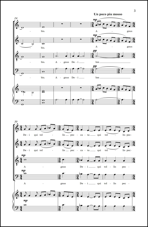 Agnus Dei (adapted from Agnus Dei from Missa Mysteriorum ) for SATB chorus & organ