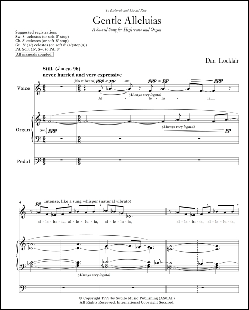 Gentle Alleluias sacred song for high voice & organ
