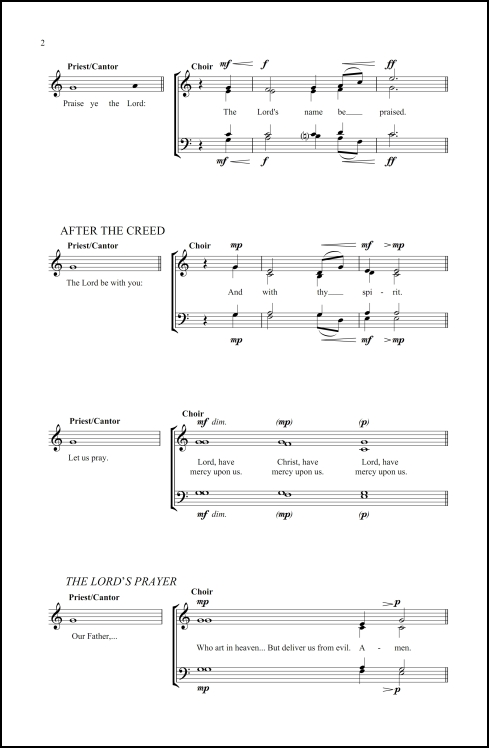 Preces and Responses for SATB chorus & priest/cantor, a cappella