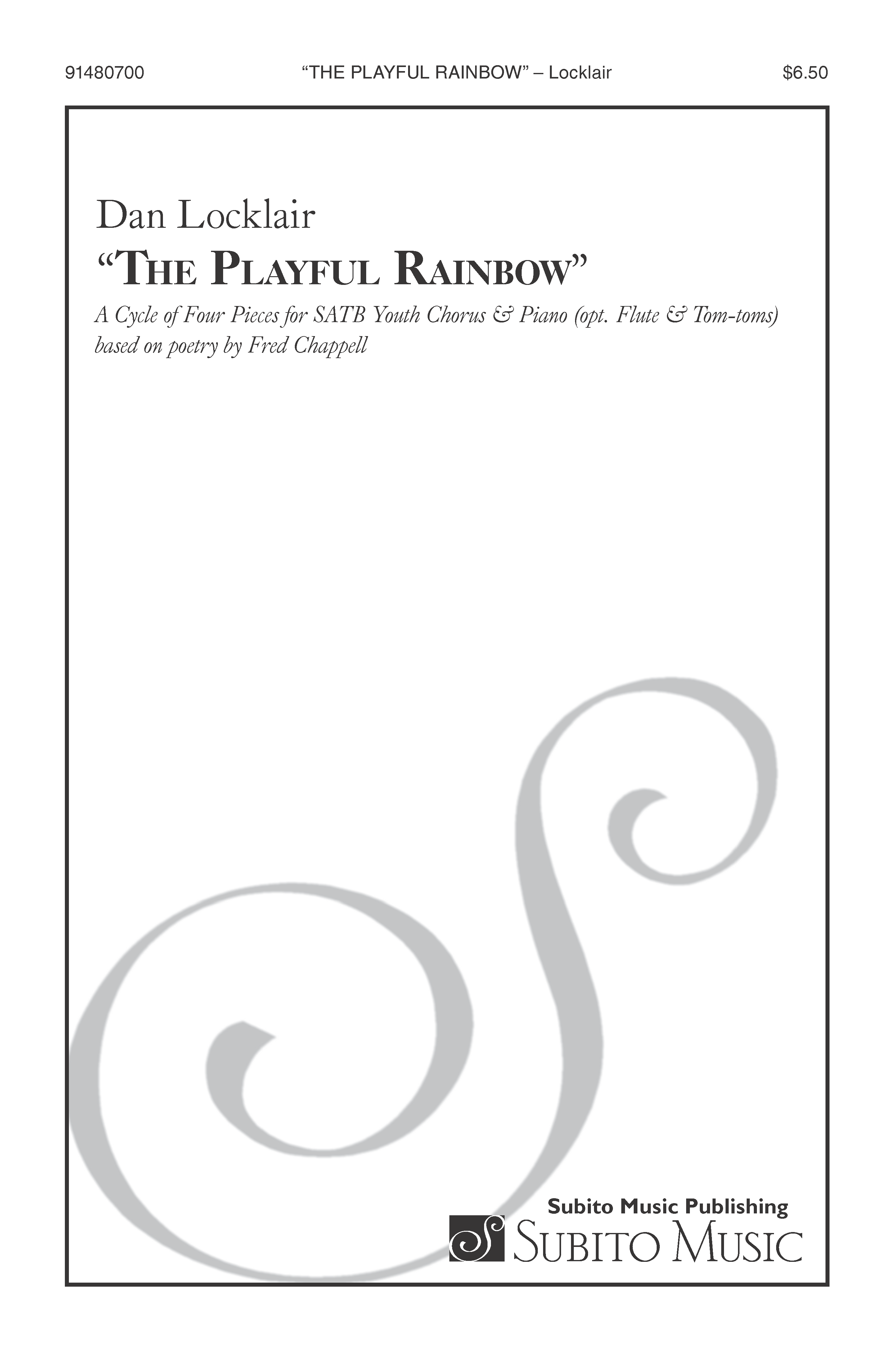 The Playful Rainbow (parts) for SATB Chorus & Piano (opt. Fl. & Perc.)