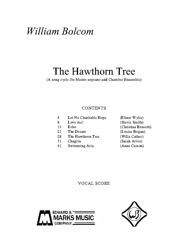 Hawthorn Tree, The for Mezzo-soprano, Piano