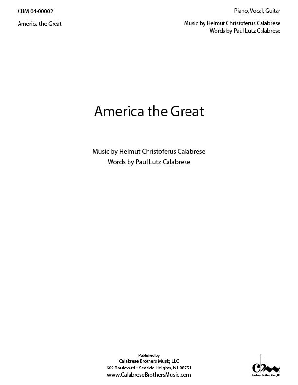 America The Great for Voice & Piano (or Guitar)