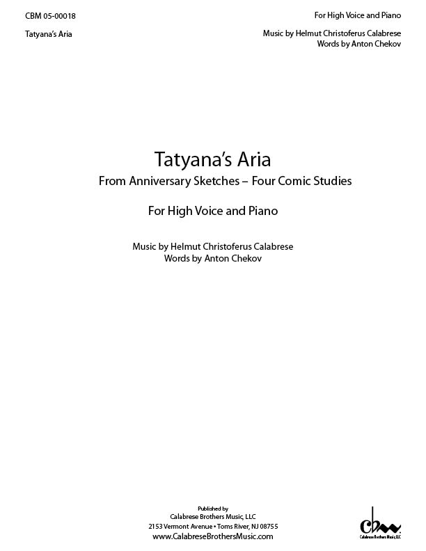 Tatyana's Aria for Voice & Piano