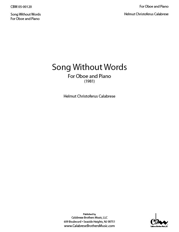 Song Without Words for Oboe and Piano for Oboe & Piano