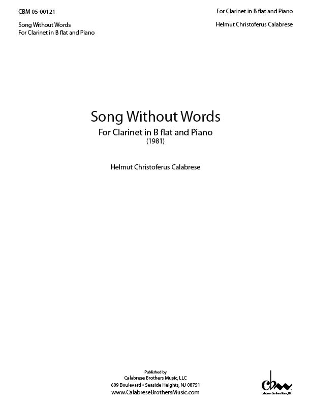 Song Without Words for Clarinet and Piano for Clarinet & Piano