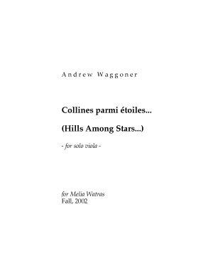 Collines parmi étoiles movement for solo viola