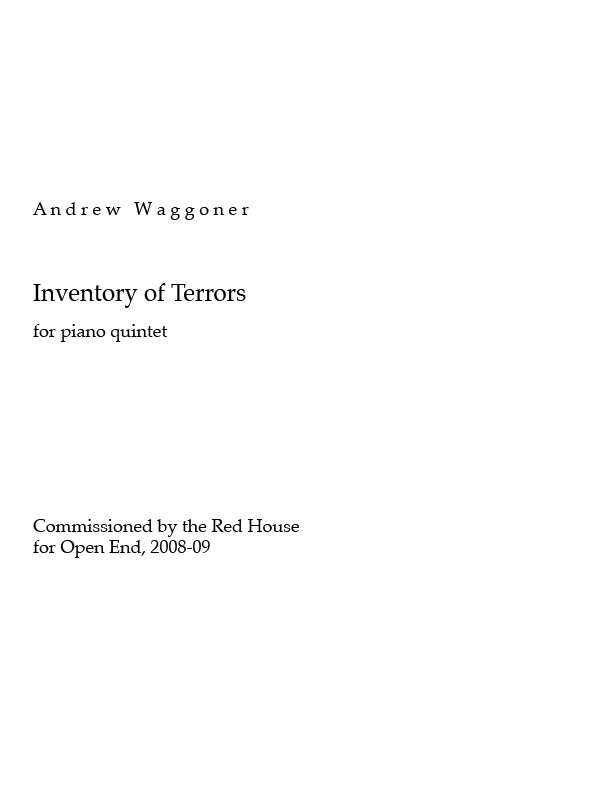 Inventory of Terrors for Piano & String Quartet