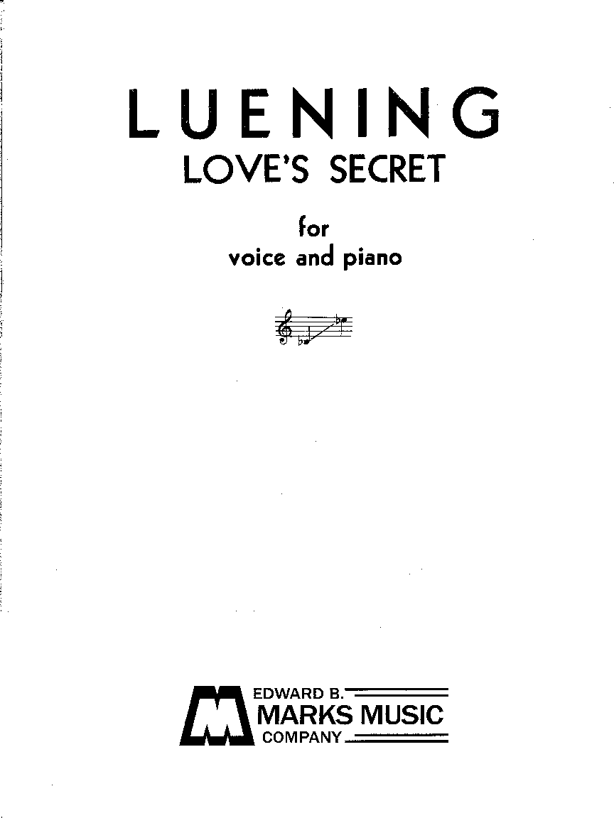 Love's Secret for Medium voice, Piano