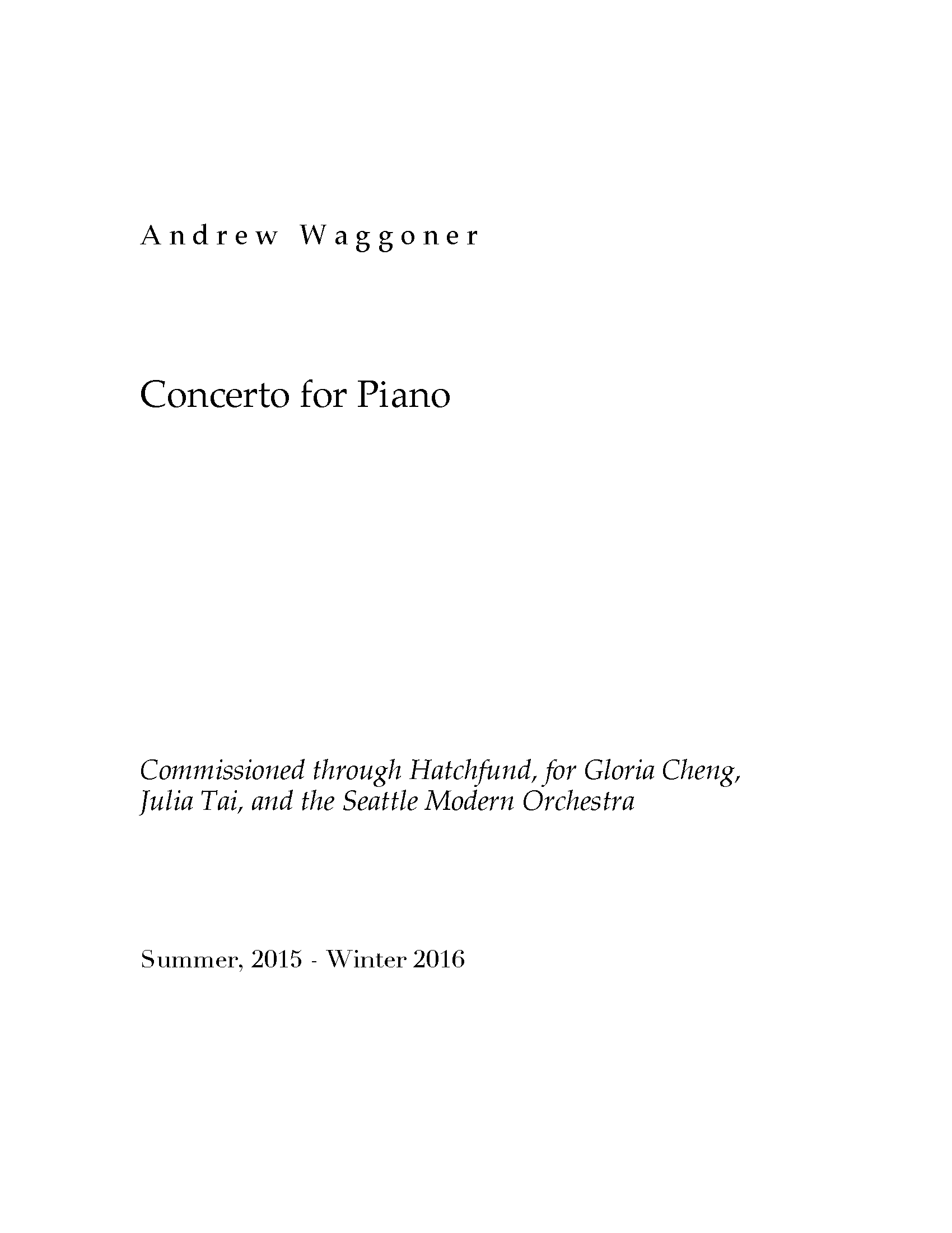 Concerto for Piano for Piano & Orchestra
