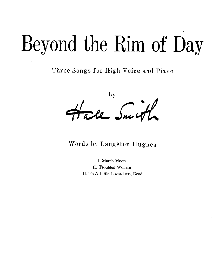 Beyond the Rim of Day for High voice, Piano