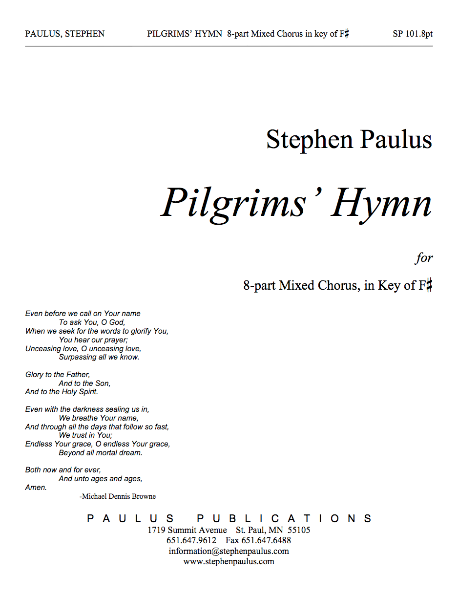 Pilgrims' Hymn (8 part version) for SSAATTBB Chorus, a cappella