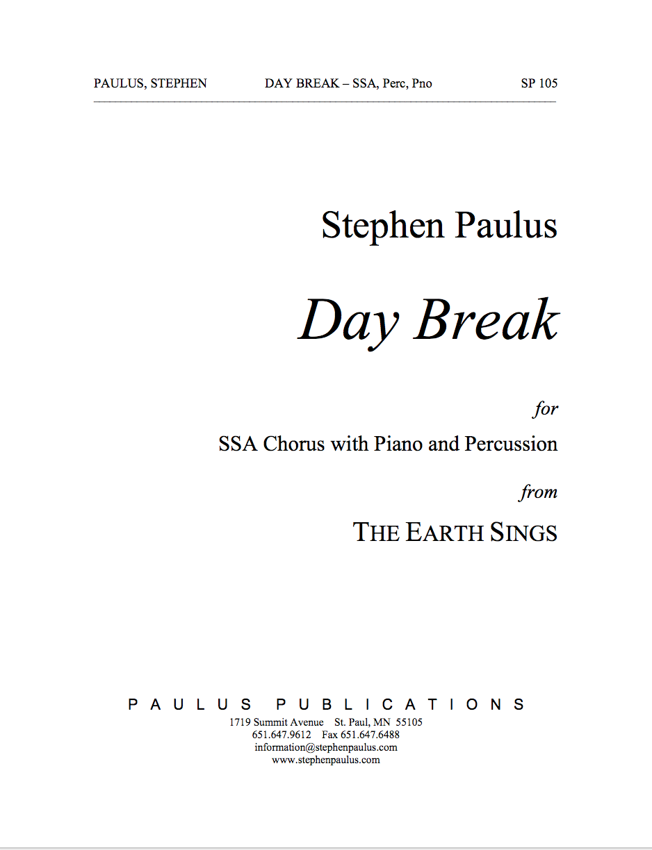 Day Break (from The Earth Sings) for SSA Chorus, Piano & Hand Percussion