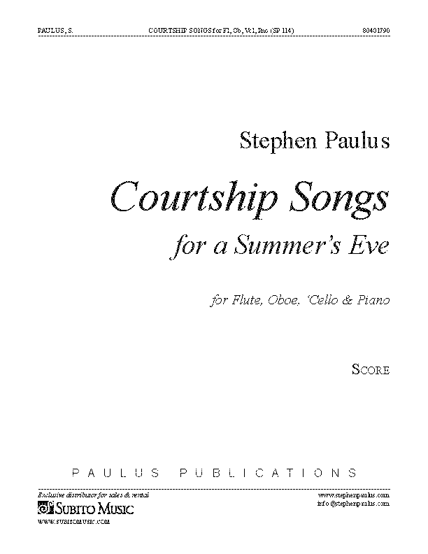Courtship Songs for Flute, Oboe, 'Cello & Piano