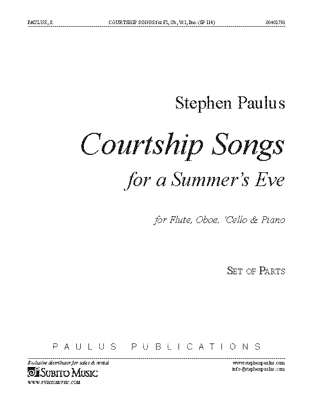 Courtship Songs (Parts) for Flute, Oboe, 'Cello & Piano