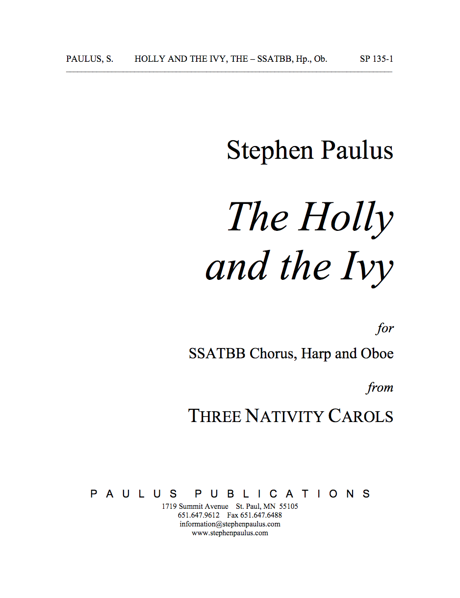 Holly & the Ivy, The (THREE NATIVITY CAROLS) for SSATBB Chorus, Harp & Oboe - Click Image to Close