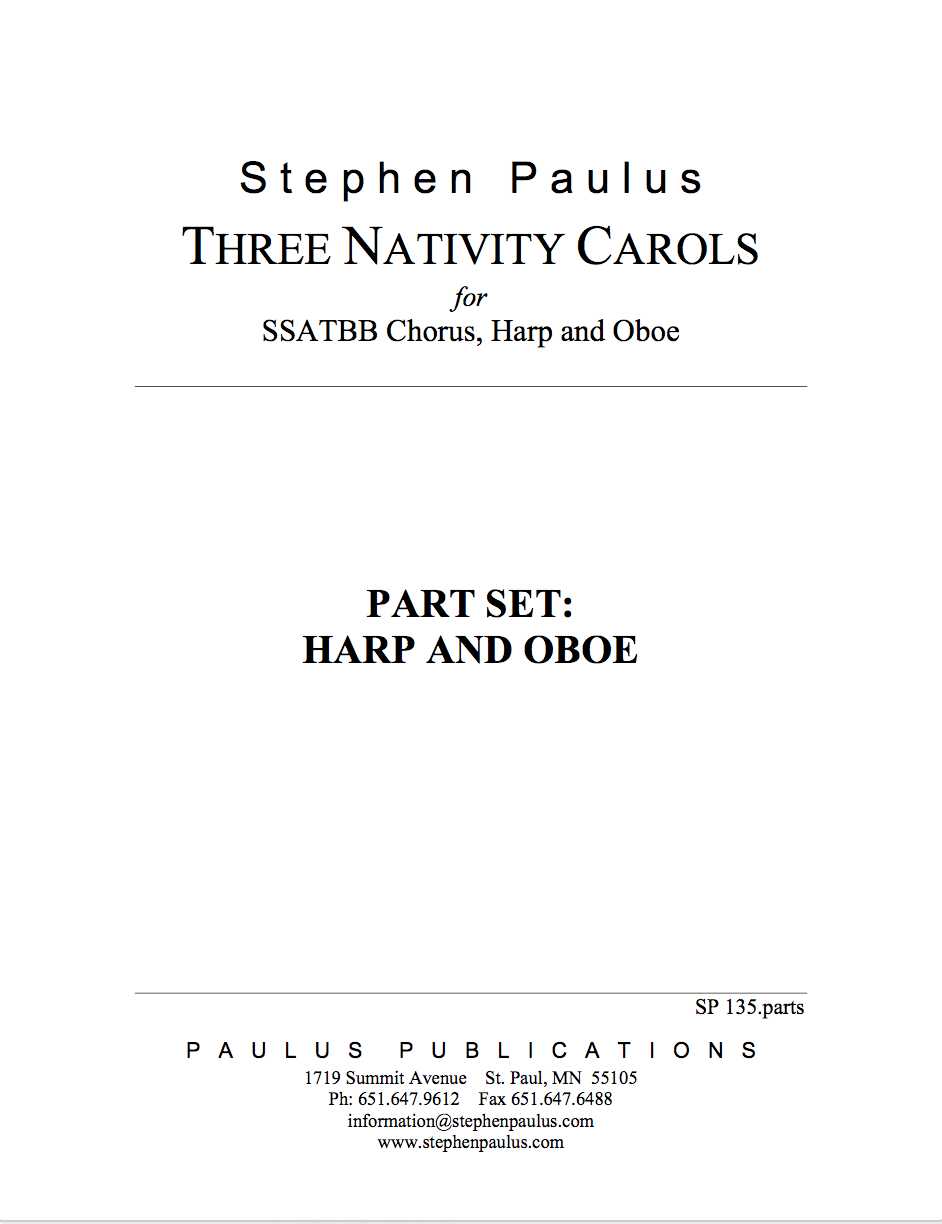 Three Nativity Carols - PARTS for SSATBB Chorus, Oboe & Harp