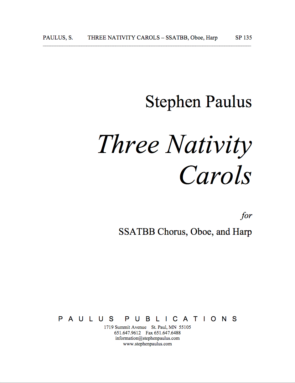 Three Nativity Carols for SSATBB Chorus, Oboe & Harp