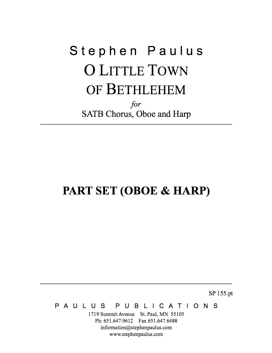 O Little Town of Bethlehem - Part Set for SATB Chorus, Oboe & Harp