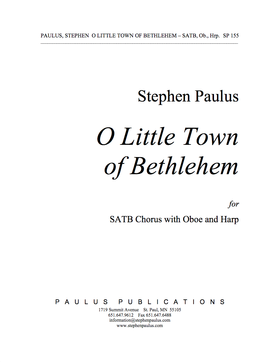 O Little Town of Bethlehem for SATB Chorus, Oboe & Harp