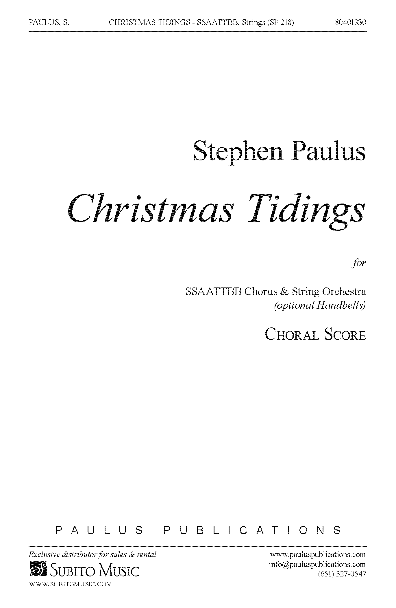 Christmas Tidings (parts) for SSAATTBB Chorus & String Orchestra (opt. Handbells)