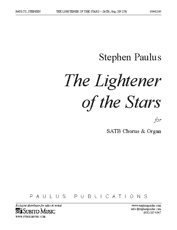 Lightener of the Stars for SATB Chorus & Organ