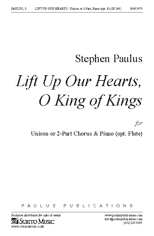 Lift Up Our Hearts, O King of Kings for Unison or 2-Part Chorus & Piano (opt. Flute)