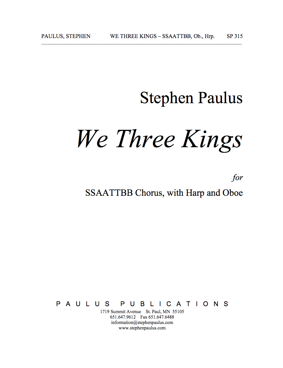 We Three Kings for SSAATTBB Chorus, Oboe & Harp