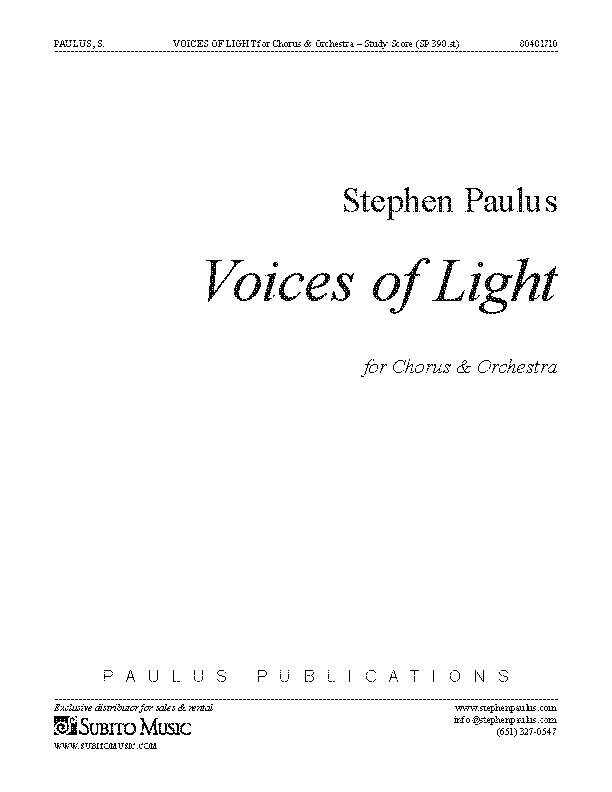 Voices of Light (study score) for Chorus & Orchestra