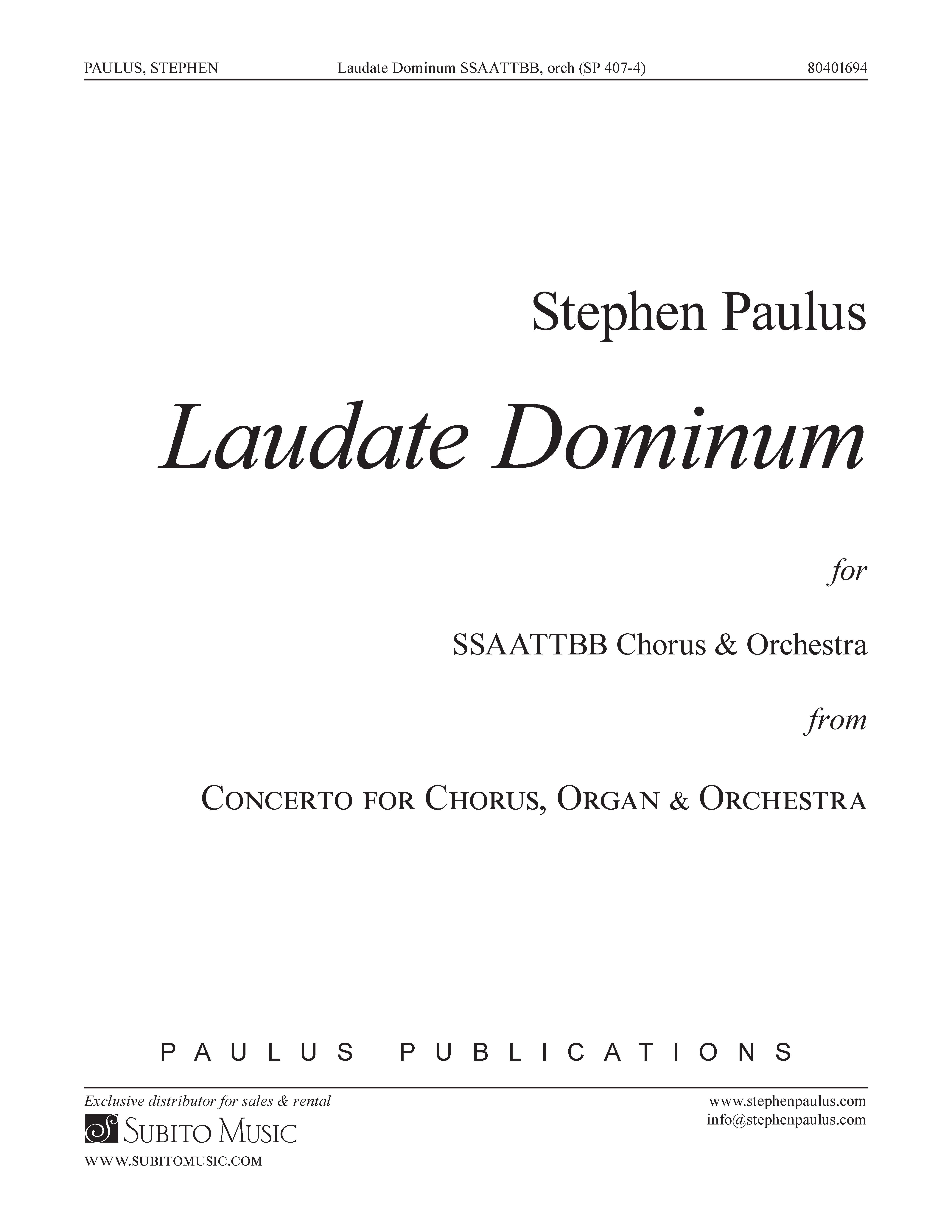 Laudate Dominum (from Concerto for Chorus, Organ & Orchestra) for SATB Chorus & Keyboard reduction