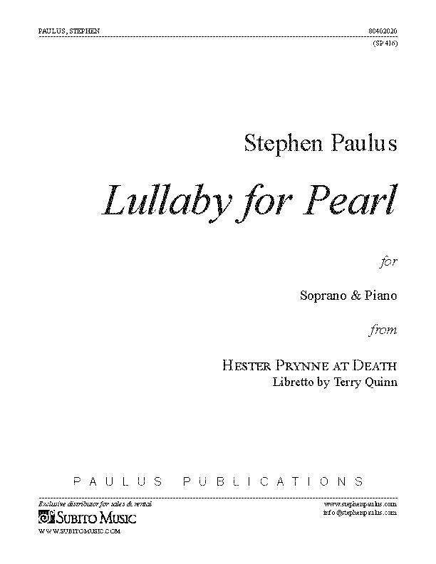 Lullaby for Pearl for Soprano & Piano