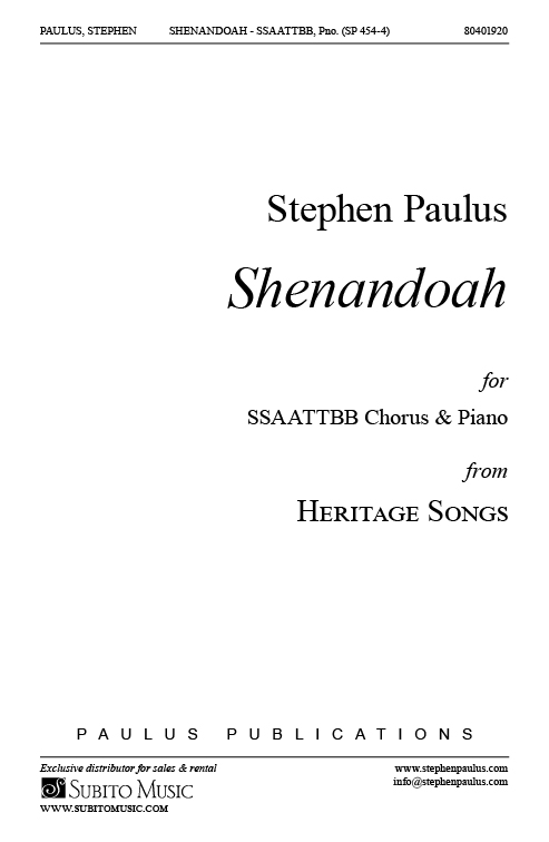 Shenandoah (from HERITAGE SONGS) for SSAATTBB Chorus & Piano