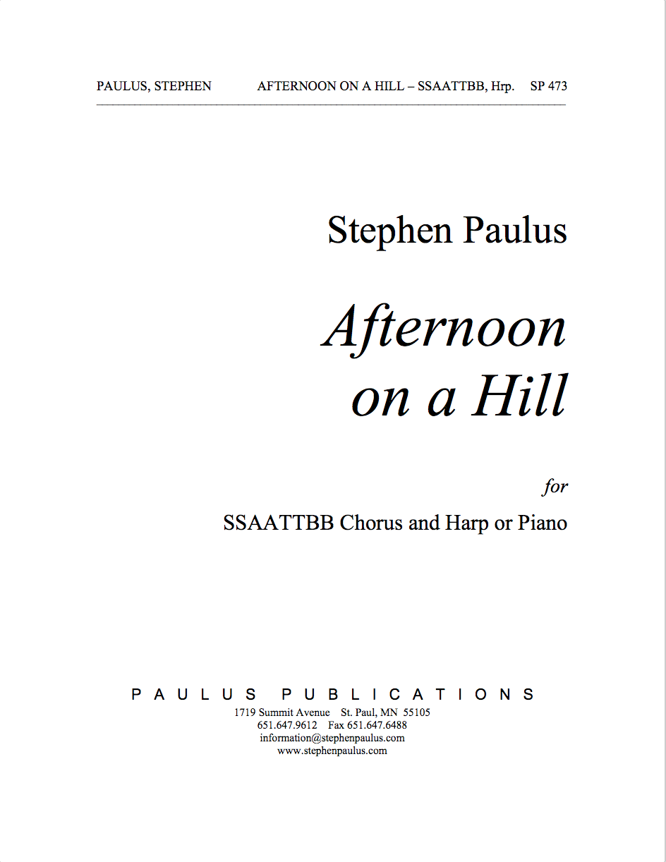 Afternoon on a Hill for SSAATTBB Chorus & Harp