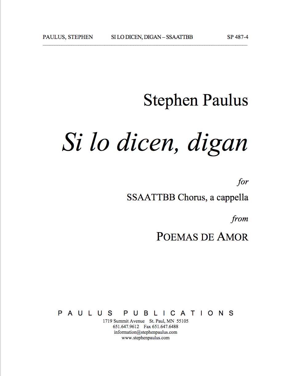 Si lo dicen, digan (from POEMAS DE AMOR) for SSAATTBB Chorus & Percussion