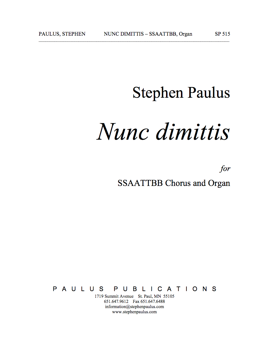 Nunc dimittis for SSAATTBB Chorus & Organ