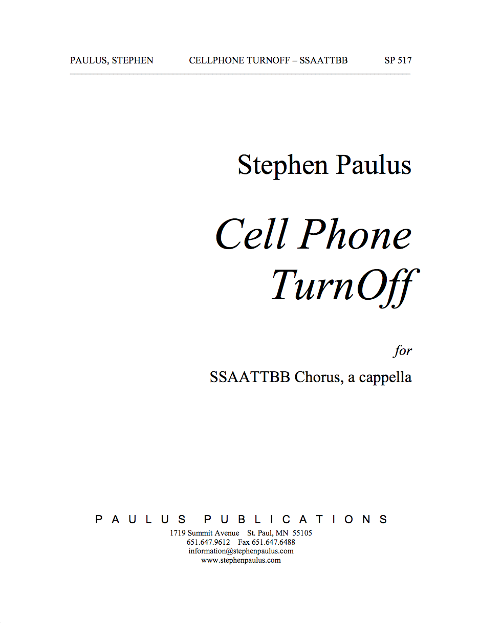 Cell Phone TurnOff for SSAATTBB Chorus, a cappella