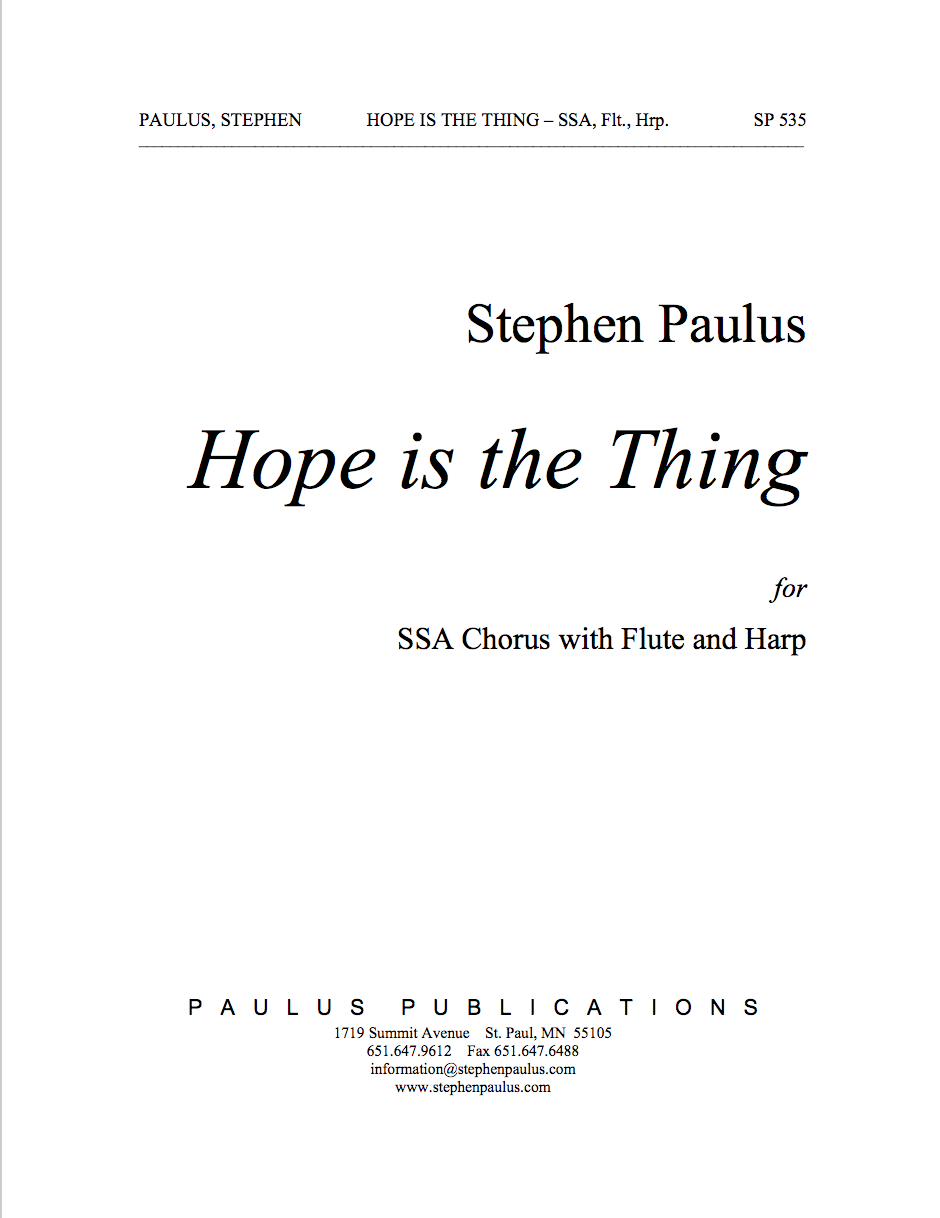Hope is the Thing for SSA Chorus, Flute & Harp