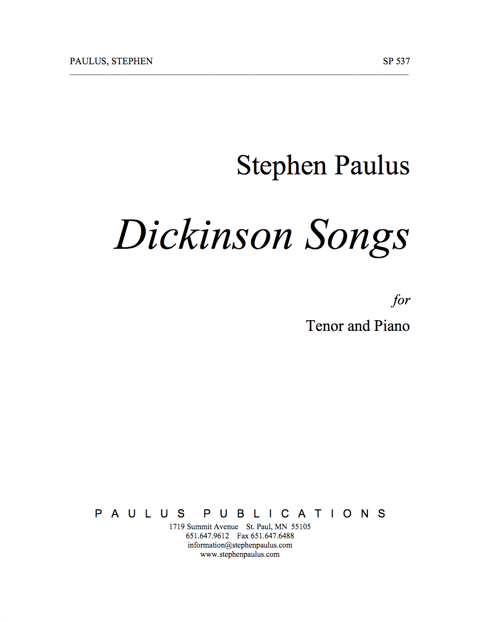 Dickinson Songs for Tenor Voice & Piano