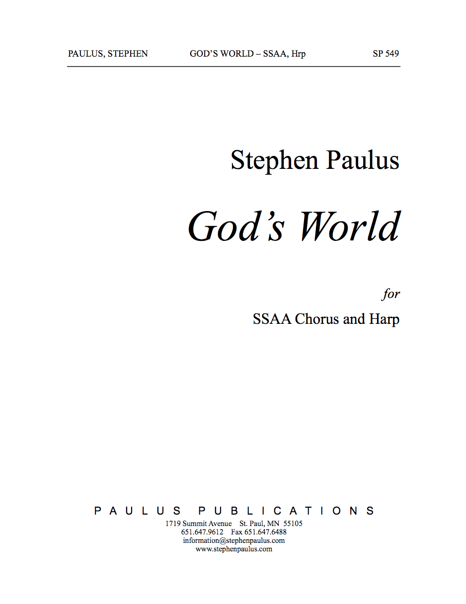 God's World for SSAA Chorus, & Harp