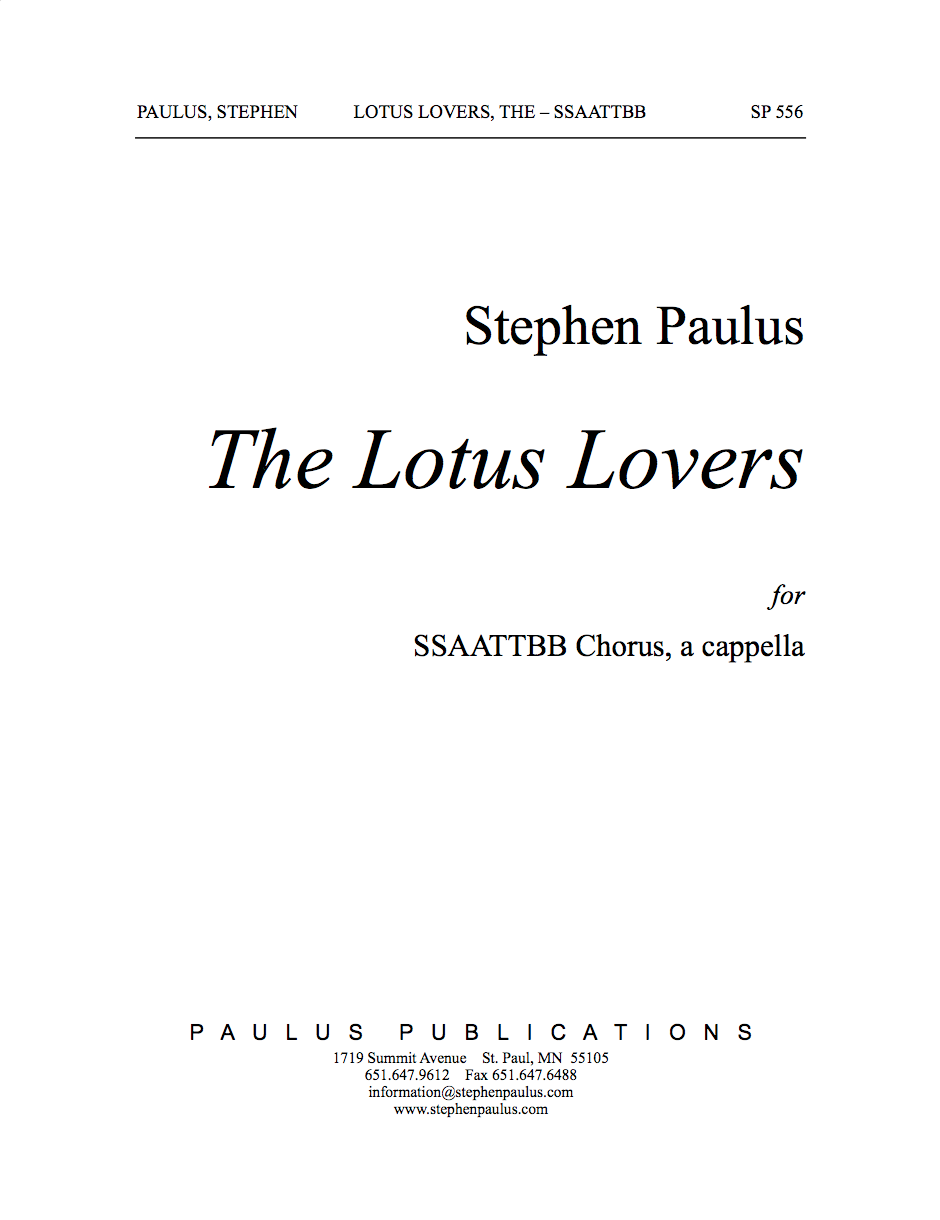 Lotus Lovers, The for SSAATTBB Chorus, a cappella - Click Image to Close