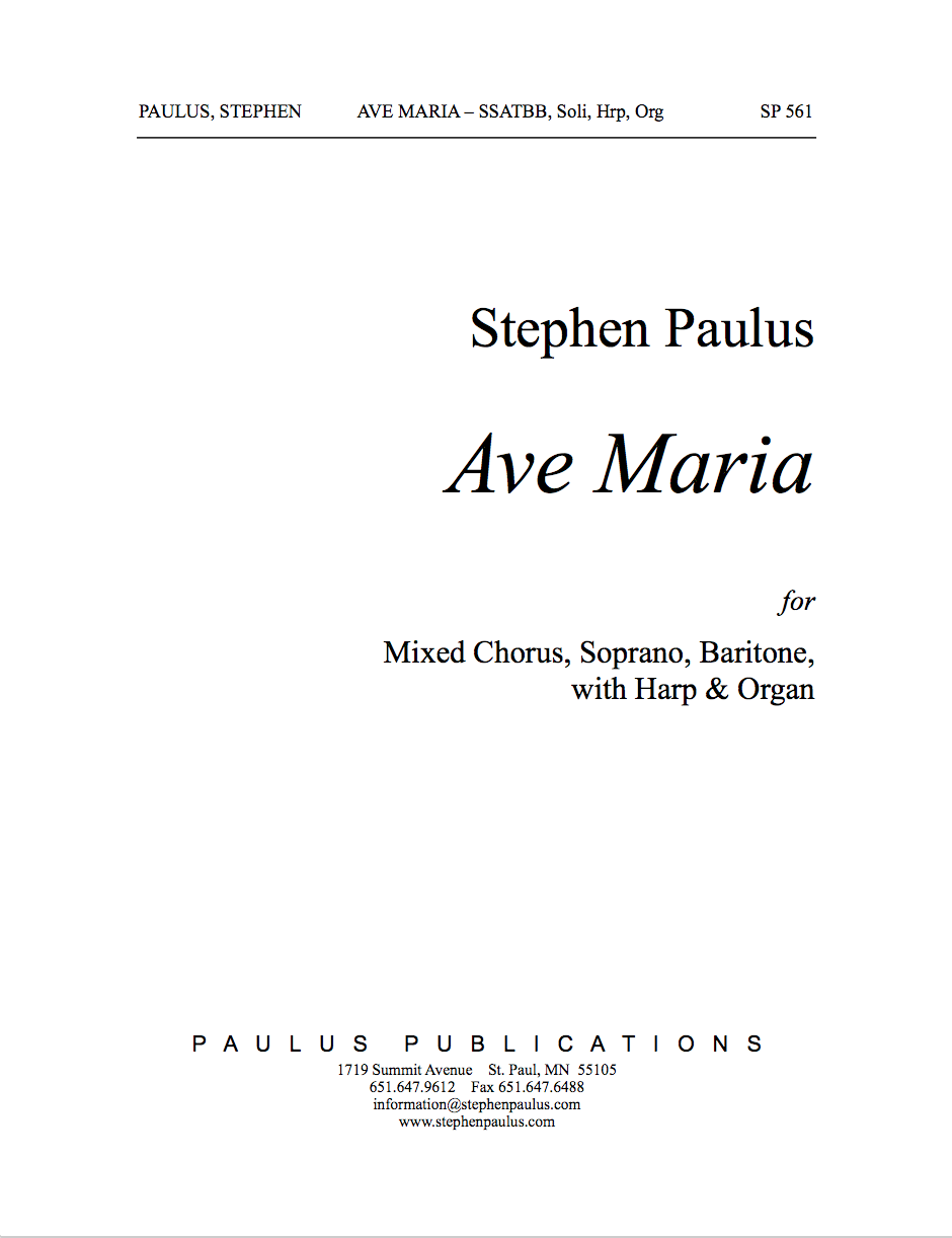 Ave Maria - Full Score for SSATBB, Sop, Bar soli, Harp & Organ, - Click Image to Close