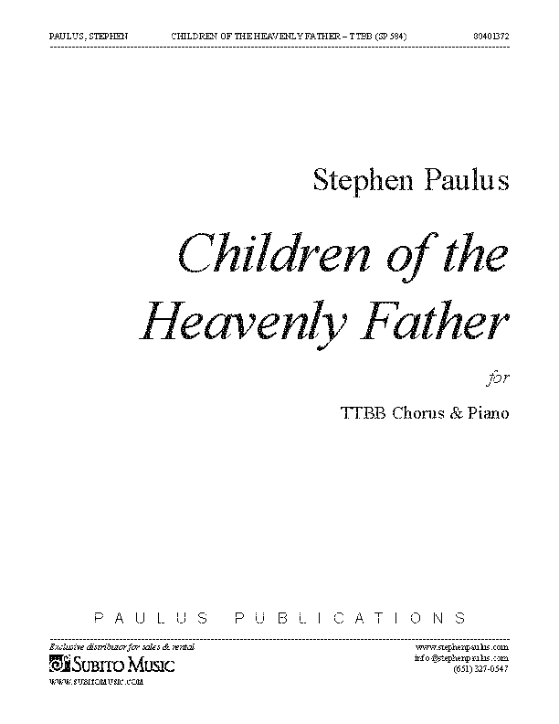 Children of the Heavenly Father (TTBB) for TTBB Chorus & Piano