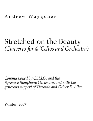 Stretched on the Beauty sketch for 4 cellos
