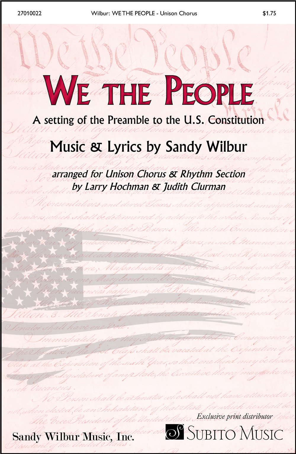 We the People for Unison Chorus & Piano Discount Lot of 20 (with opt. Synthesizer, Guitar, Bass, Drums