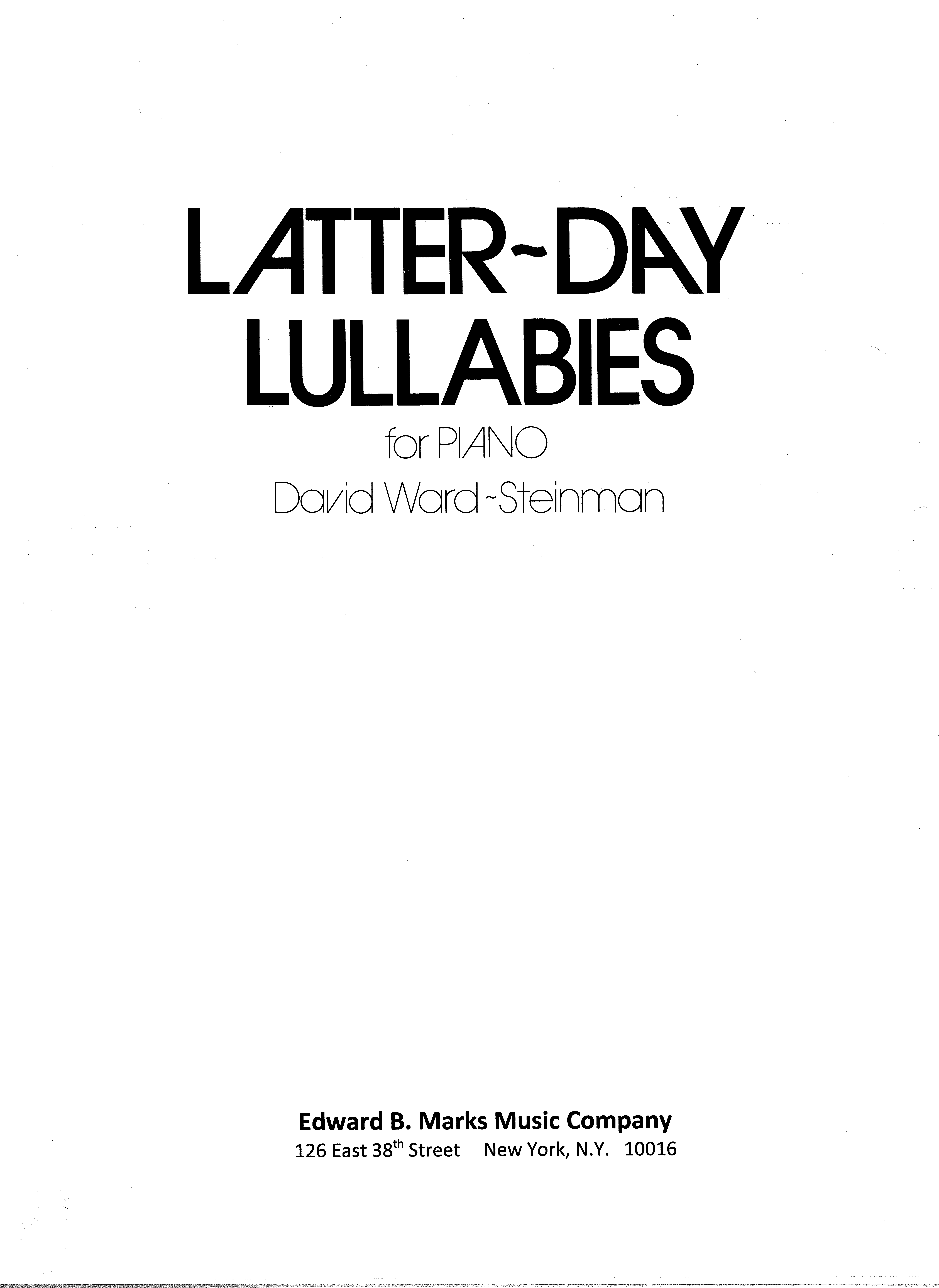 Latter-Day Lullabies for Piano Solo